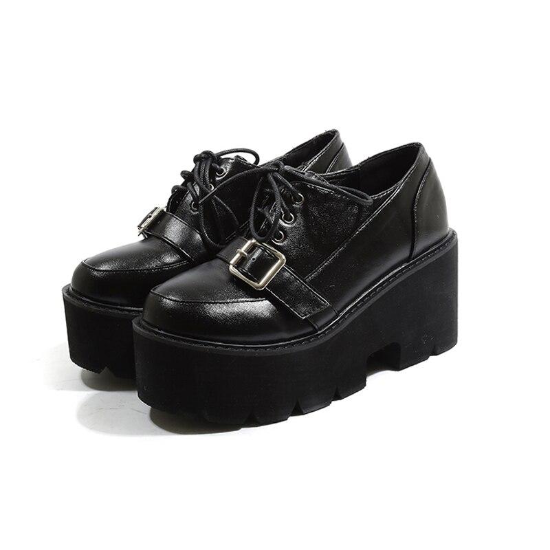 Chaussures Pour Noir Femme Automne Mode forme Cheville Boucle Plate Femmes De Harajuku À Bottes Talons Hauts Casual trqHt
