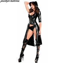 jocelyn katrina brand 2017 Sexy Bodysuits Jumpsuit Women Body black faux leather dress women sexy hooded long gown bodysuit