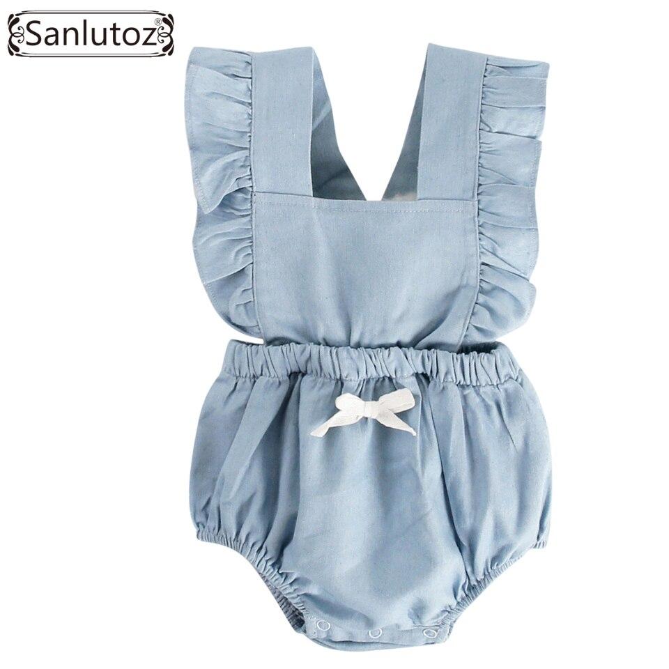 Sanlutoz Bebê Recém-nascido Da Menina Roupas de Verão 2018 Macacão de Bebê de Algodão Plissado Macacão Infantil Roupa Da Criança com Arco Princesa
