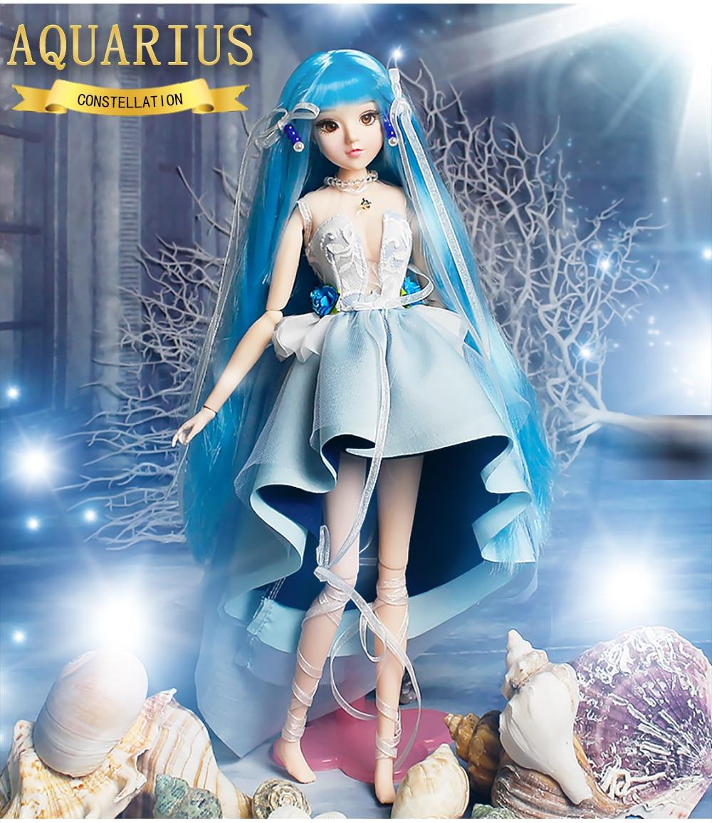 MMGirl 12 Constellation Aquarius Like BJD Blyth Doll 1 6 30cm Blue Dress Dream Body Toy