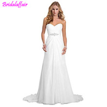 Simple wedding dress A Line Chiffon Bride sexy  Wedding Dresses cheap dresses with free shipping