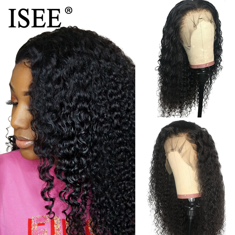 Mongolian Kinky Curly Wigs For Black Women Pre Plucked 150 Density Human Hair Wigs Remy ISEE