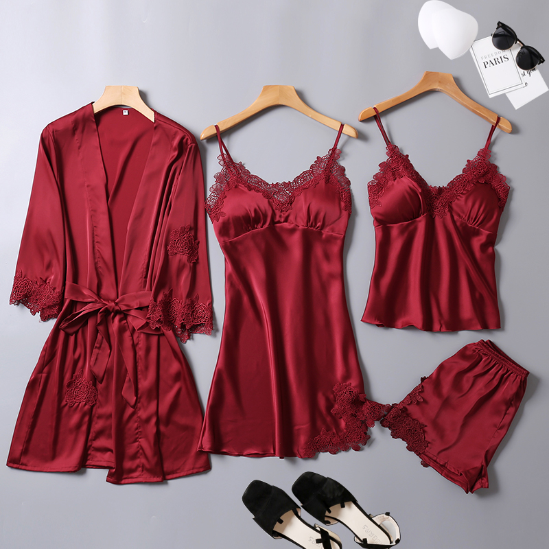 2019 summer   pajamas   for women stain silk 6 colors solid   pajamas     set   brand 4 piece home suit home   set   clothing sleepwear