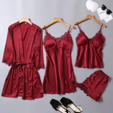 Satin Sleepwear Female with Chest Pads Sexy Women Pajamas Lace Slik Sleep
