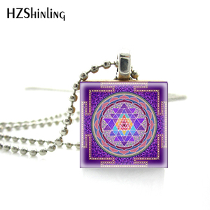 2018 New Arrival Scrabble Tile Necklace Buddhist Sacred Geometry Sri Yantra Necklace Scrabble Pendant Wooden Game Tile Jewelry(China)