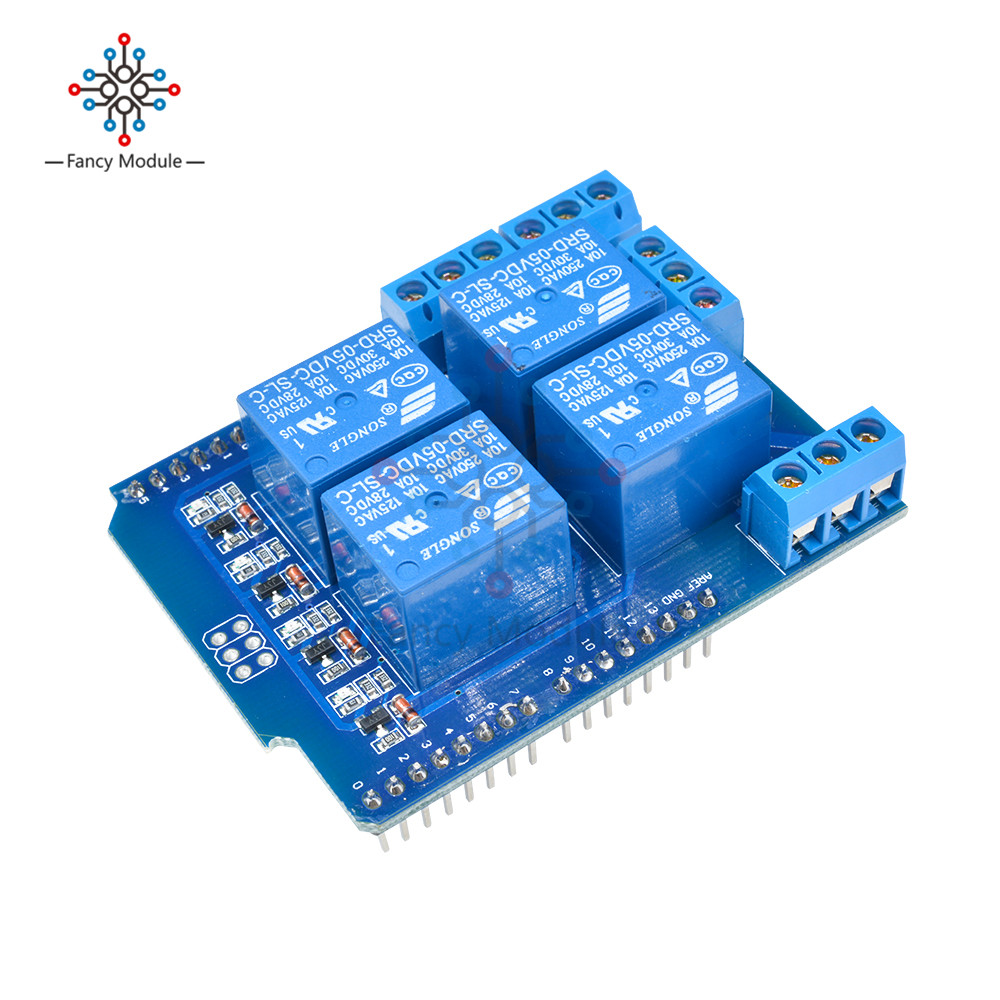 Relay Shield V2.0 4 Channel 5V Relay Swtich Expansion Drive Board for Arduino UNO R3 Development Board Module One relay shield v1 0 5v 4 channel relay module for arduino works with official arduino boards