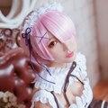 Re: Жизнь в Другом Мире, Нулевой Ram Краткое Розовый Костюм Девушки Косплей Парики Без Аксессуары Для Волос