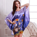 Nature Print Plus Size Women Nightwear Faux Silk Sleepwear Female Nightgown Satin Night Sleeping Home Dress for Women SY084#10