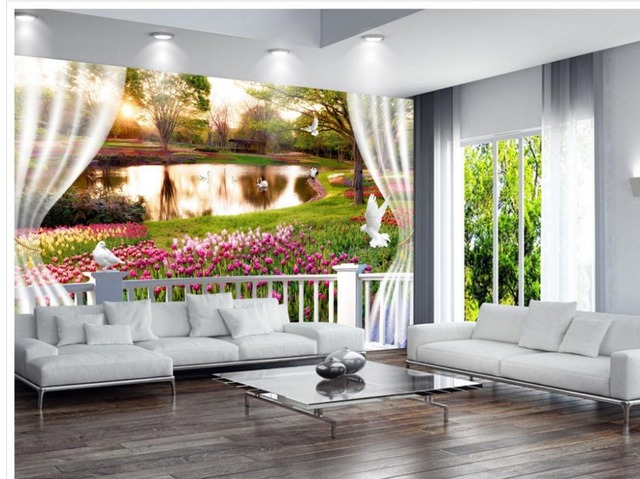 3d angepasst tapete dekoration 3d fenster blumen zimmer moderne tapete wandbild fototapete in 3d. Black Bedroom Furniture Sets. Home Design Ideas