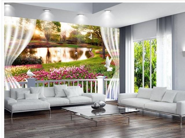 3d angepasst tapete Dekoration 3D fenster Blumen zimmer moderne tapete wandbild fototapete in 3d
