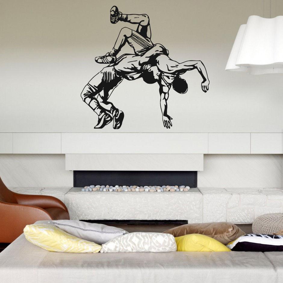 Decoración de pared moderna para el hogar, pegatina de vinilo para habitación, Lucha, jiu jitsu greco, estilo romano, estilo libre, Mural de arte extraíble DIY E611 reloj pared vintage decorativo mudo adornos para casa reloj mural sala relojes de pared casa regalos de boda