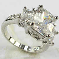 YaYi bijoux superbe mode 4.8CT Zircon blanc couleur argent lourd anneau