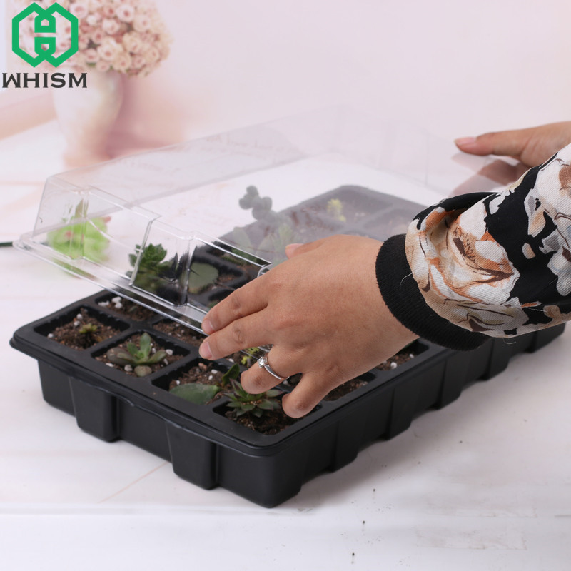 WHISM 24 Hole Plastic Flower Pot Seedling Nursery Pot Hydroponic Sprout Plate Box Garden Pots Planters Succulents Tray With Lid
