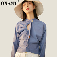 OXANT Sexy Hollow Out Women's Shirt Blouse Backless Long Sleeve Lace up Shirts Tops Female 2019 Autumn Fashion Clothes