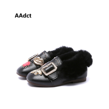 AAdact Winter new cotton toddler baby shoes fur soft bottom princess Leather little kids shoes Warm girls shoes