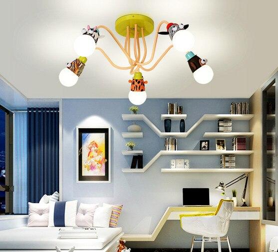Cartoon kovový přívěsek světlo zvířecí hlavy Droplight Mokey Girraf Zebra Dimmer dálkové led noční světlo pro děti ložnice dekorace