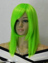 Wholesale heat resistant LY free shipping New wig Cosplay Straight Short Bright green Wig