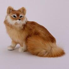 big simulation yellow fox toy resin&fur sitting fox model gift about 35x28x26cm