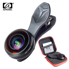 Apexel universal phone lens super 238 degree fish eye lens 0.2X full frame wide angle lens for iPhone 7 8 x plus xiaomi samsung