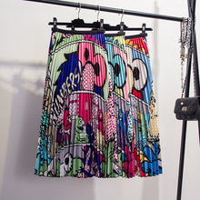 Shintimes 2019 Summer Autumn Hot Cartoon Pattern High Waist Pleated Skirt A-line Mid-Calf Streetwear Style Skirts Female