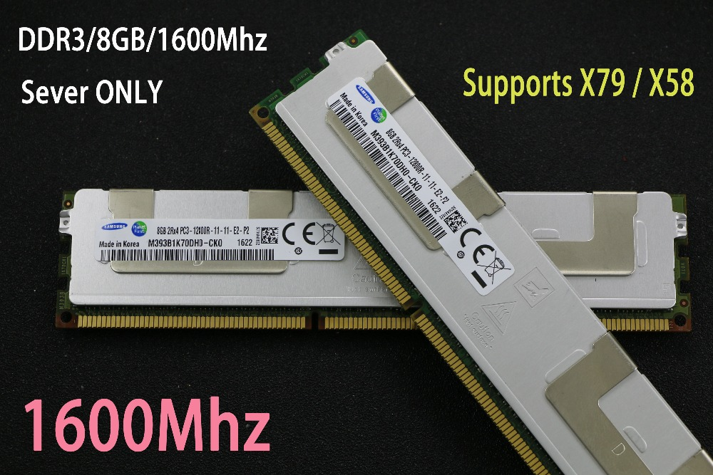 Samsung 4GB 8GB 16GB DDR3 1333MHz 1600MHz 1866MHz 4G 8G 16G 1333 1600 1866 radiator REG ECC server memory RAM X79 X58 2011 1366 new for 647909 b21 647658 081 8g 1333 ecc udimm 1 year warranty