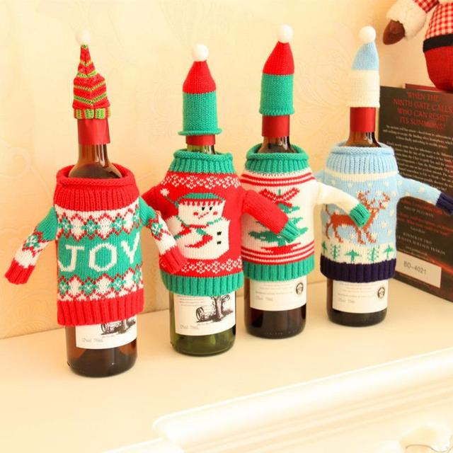 Christmas Wine Bottle Cover Bag New Year Gifts Banquet Santa Claus Snowman Party Christmas Tableware Decoration for Home