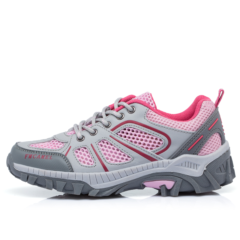 ФОТО 2016 Best Hiking Shoes For Women Summer Hiking Boots Women Gray/Pink Womens Hiking Sneakers Wearable Trail Walking Shoes Woman