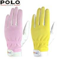 โปโลแท้กอล์ฟสตรีถุงมือคู่สุภาพสตรีกีฬาจับนวมไมโครไฟเบอร์หนังถุงมือซ้ายขวามือถุงมือใหม...