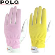 POLO Authentic Golf Womens Gloves Pair Ladies Sport Grip Mitten Microfiber Leather Gloves Left Right Hand Glove New Pink Yellow