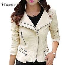 Tangnest кожаное кожаная заклепки верхняя куртка женский женская тонкий пальто осень