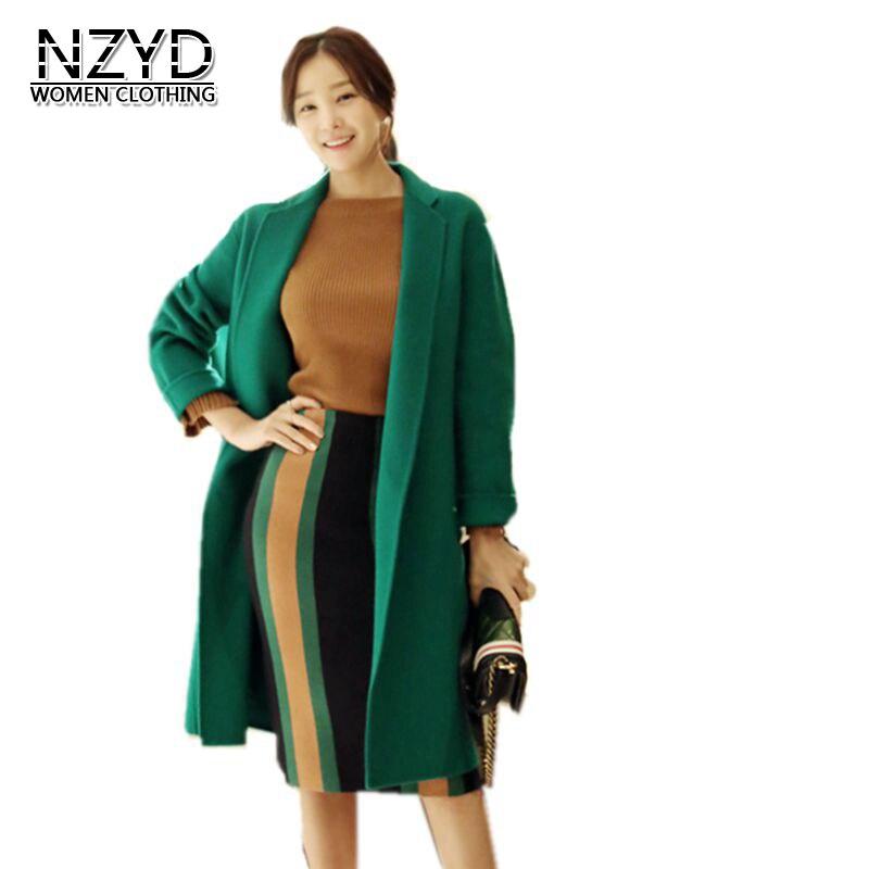 Femmes Vert Mélanges veste 2017 Nouvelle Mode Cardigan Automne Hiver Chaud Lâche Big yards Moyen Long Occasionnels Laine manteau Y12