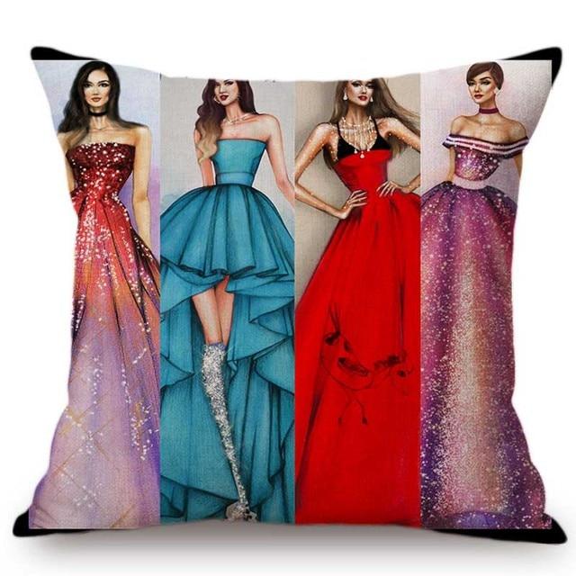 Fashion Queen Girl Beautiful Dress Hand Drawing Sofa Throw Pillow Case Elegant Fashion Dress Design Artwork Linen Cushion Cover Cushion Cover Aliexpress