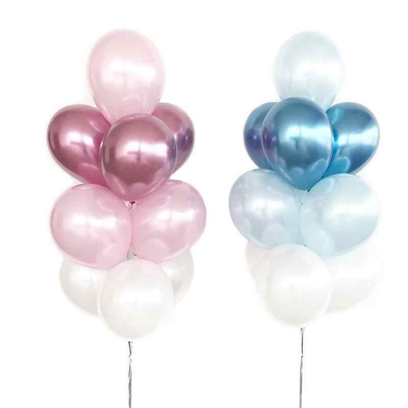 Kuchang 10pcs Pink Blue Metallic Chrome Latex Balloons Thick Pearly Metal Chrome Colour Photograph Wedding Party Decor Balloons