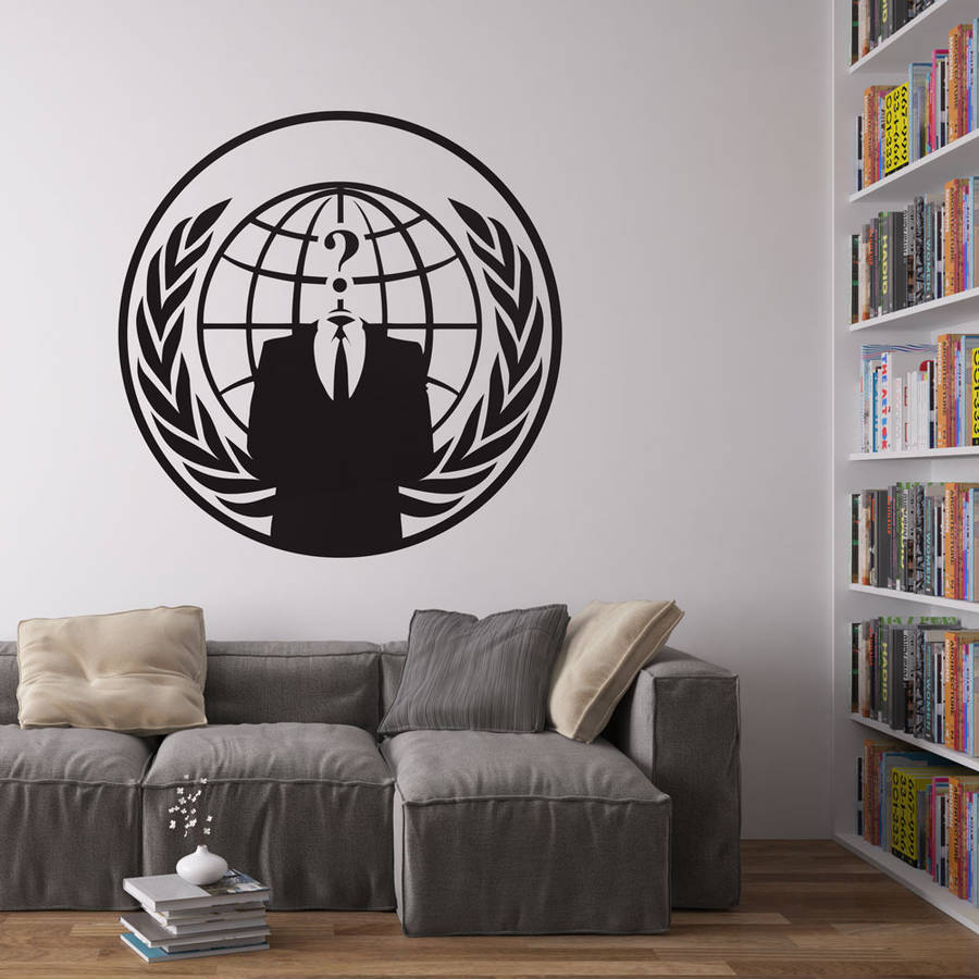 Anonymous Logo Vinyl Wall Art Stickers Round shape Black Wall Decals Home Decor Living Room Office New Arrival Wallpaper ZA204