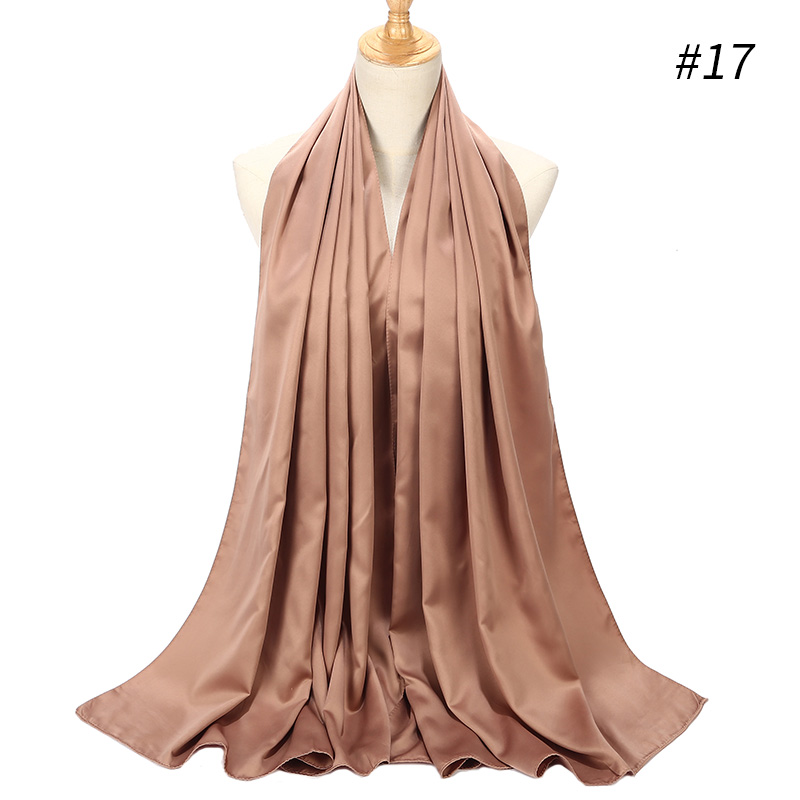 Image 5 - 1pc New Arrival Smooth Matt Color Satin Scarf Shawls Plain 