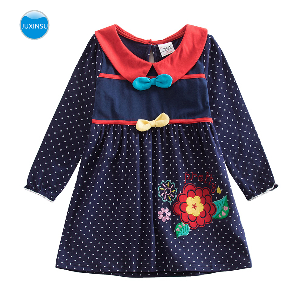 JUXINSU Girl Cotton Flower Embroidered Bow Long Sleeve Wave Point Dress Girls Autumn Winter Casual Dresses for 3 8 Years in Dresses from Mother Kids