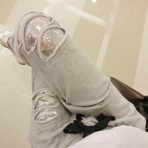 Image 1 - Pantalones Harlan de talla grande para mujer, pantalón informal de lentejuelas elásticas, aumento de tamaño de 200 libras, para primavera y otoño, MZ1104