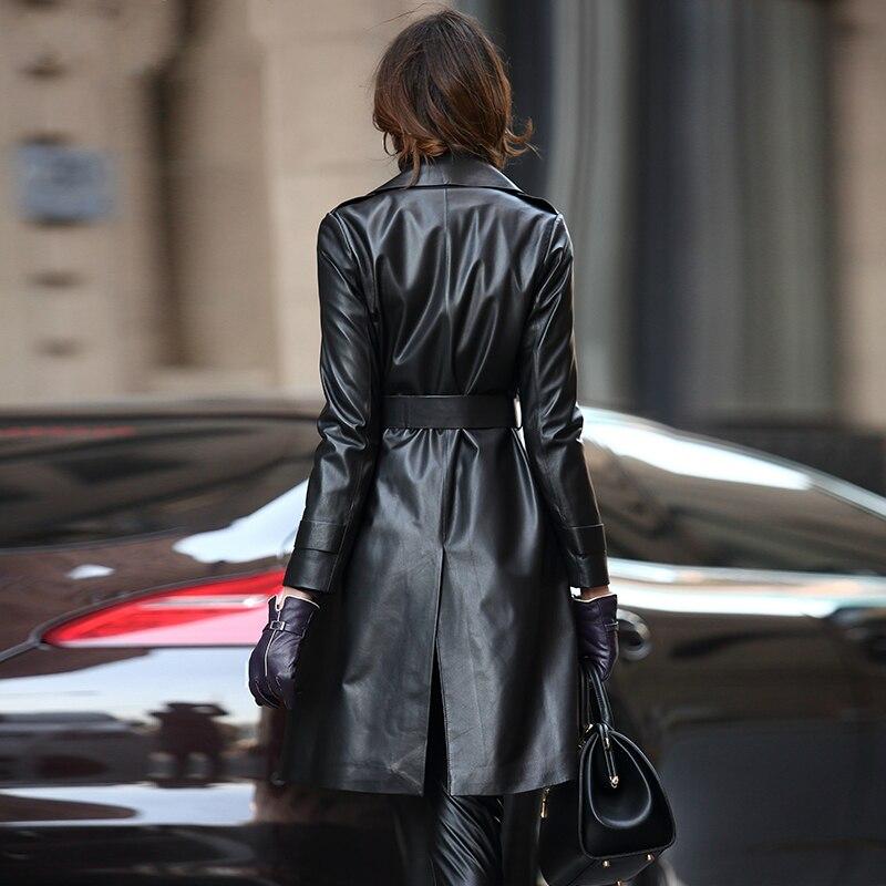 Manteau vent Tranchée Automne Veste Streetwear Cuir Femmes En Véritable Naturelle Long Mouton Peau 2019 Coupe Noir Yq2156 De Ayunsue Femelle xPw7ZqIT5