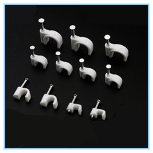 100pcs Cable fixed 4mm Flat or Round or CCircle Path cable clips with Nail, Wire U Circle Cable Clamp with Nail