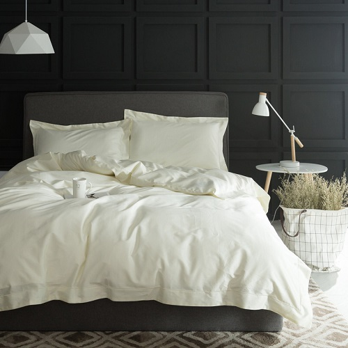 1000TC Egypt cotton White Color Bedding set 4PCS KING QUEEN SIZE tribute silk Hotel Bed set