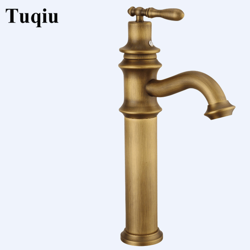 Basin Faucets Antique Brass Bathroom Sink Faucets Single Handle Deck Mounted Bath Wash Hot Cold Mixer Water Tap WC TapsBasin Faucets Antique Brass Bathroom Sink Faucets Single Handle Deck Mounted Bath Wash Hot Cold Mixer Water Tap WC Taps