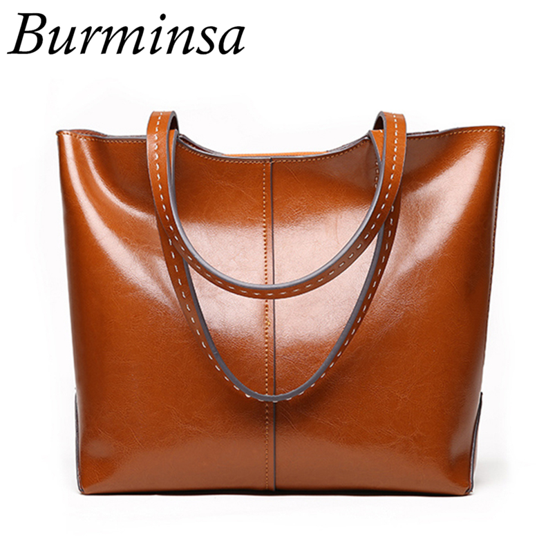 Burminsa Large Capacity Women Genuine Leather Handbags Retro Oil Wax Tote Shopping Bag Big Female Shoulder Bags New Arrival 2018 2017 women leather handbags summer new oil wax cowhide handbags female retro handbag fashion simple shoulder messenger bags