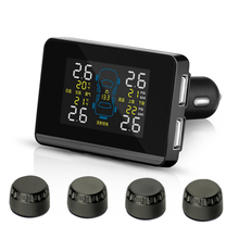 Car Wireless TPMS Tire Pressure Monitoring System with 4 External Replaceable Battery Sensors LCD Display PERSHN D6 WF