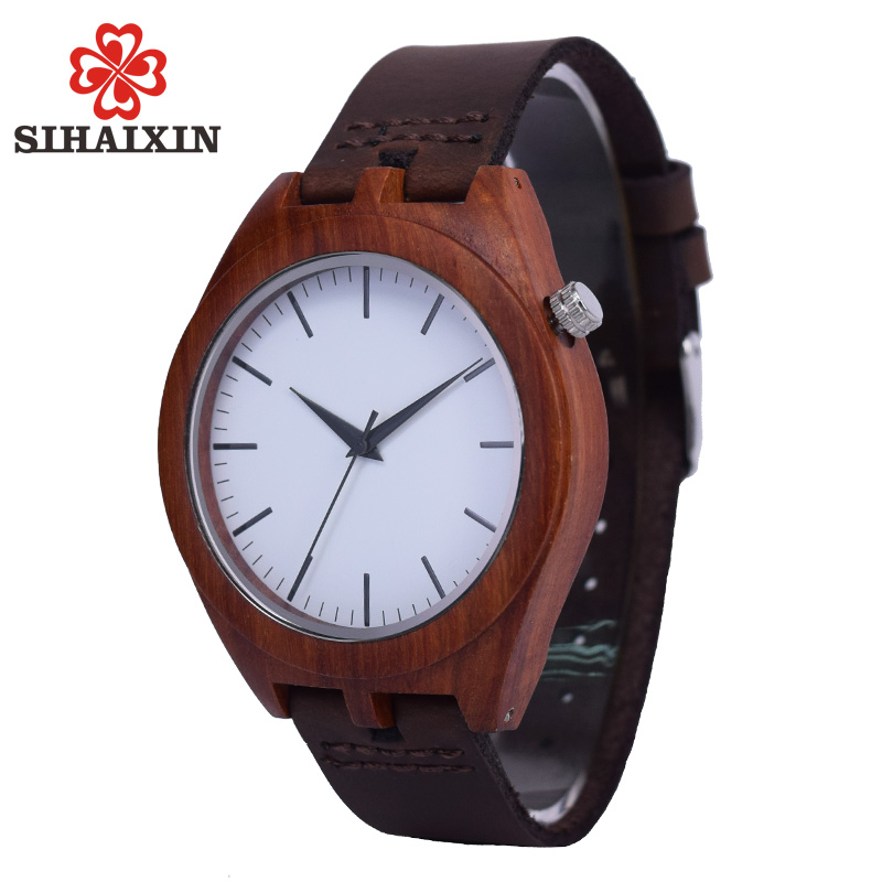 SIHAIXIN Best Watch For Men Bamboo De Wood Grain Watches With Leather Quartz Luxury Clock Male High Quality As Minimalist Gift new world map mens genuine leather quartz watch wood bamboo male wrist watch luxury brand reloj de madera genuine with gift box