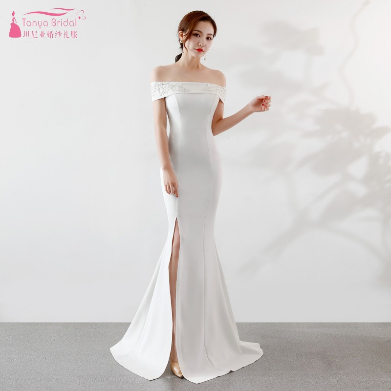 White Boat Neck Long   Bridesmaid     Dresses   Side Slit Long   Dress   For Wedding Party For Woman vestido madrinha JQ130