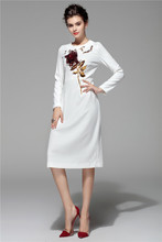 arlene sain Designer Brand Runway Long Dress Women's Long Sleeve Rose Appliques Beading Mid Calf White Casual Dress