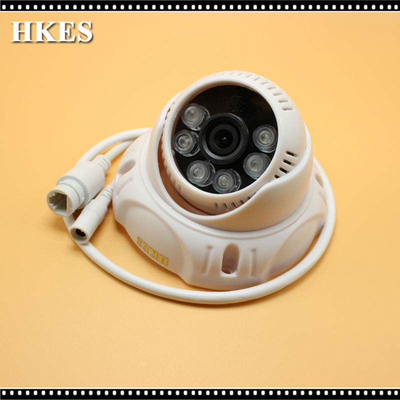 HKES poe indoor plastic 6IR LED HD 960P 1.3MP dome IP network camera night vision security p2p onvif 4pcs lot 960p indoor night version ir dome camera 4 in1 camera 3 6mm lens p2p onvif abs plastic housing