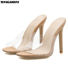 TINGHON Summer Fashion Ladies PVC Slipper Transparent Shallow Thin Hight Heel Women Shoes Wear For Outside Apricot 35-40