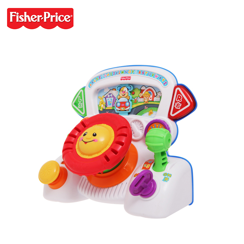 Genuine Fisher Price Interactive Fun Music Learning Wheel Bilingual Machine Funny Baby Growing Up Education Toy X6517