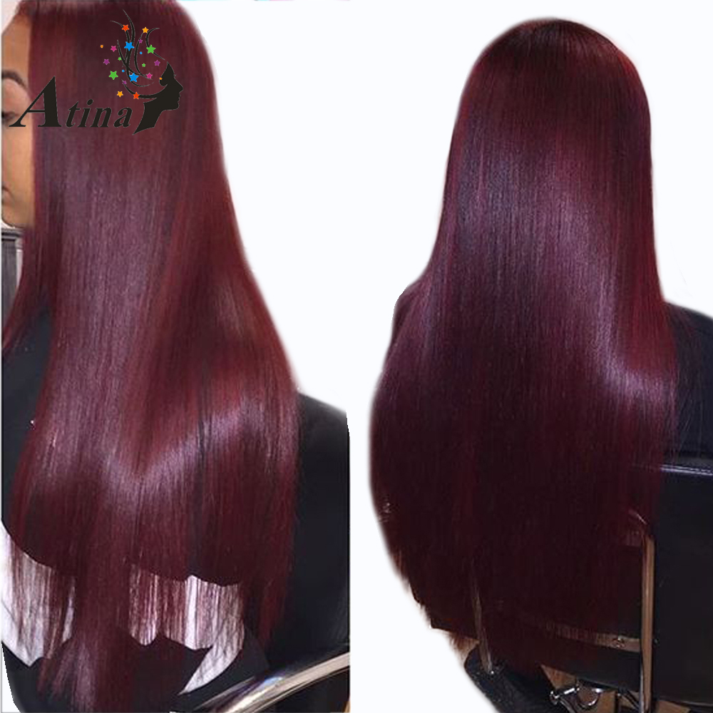 99J Red Burgundy Lace Front Human Hair Wig Silk Straight 130 Density Remy Hair Lace Front